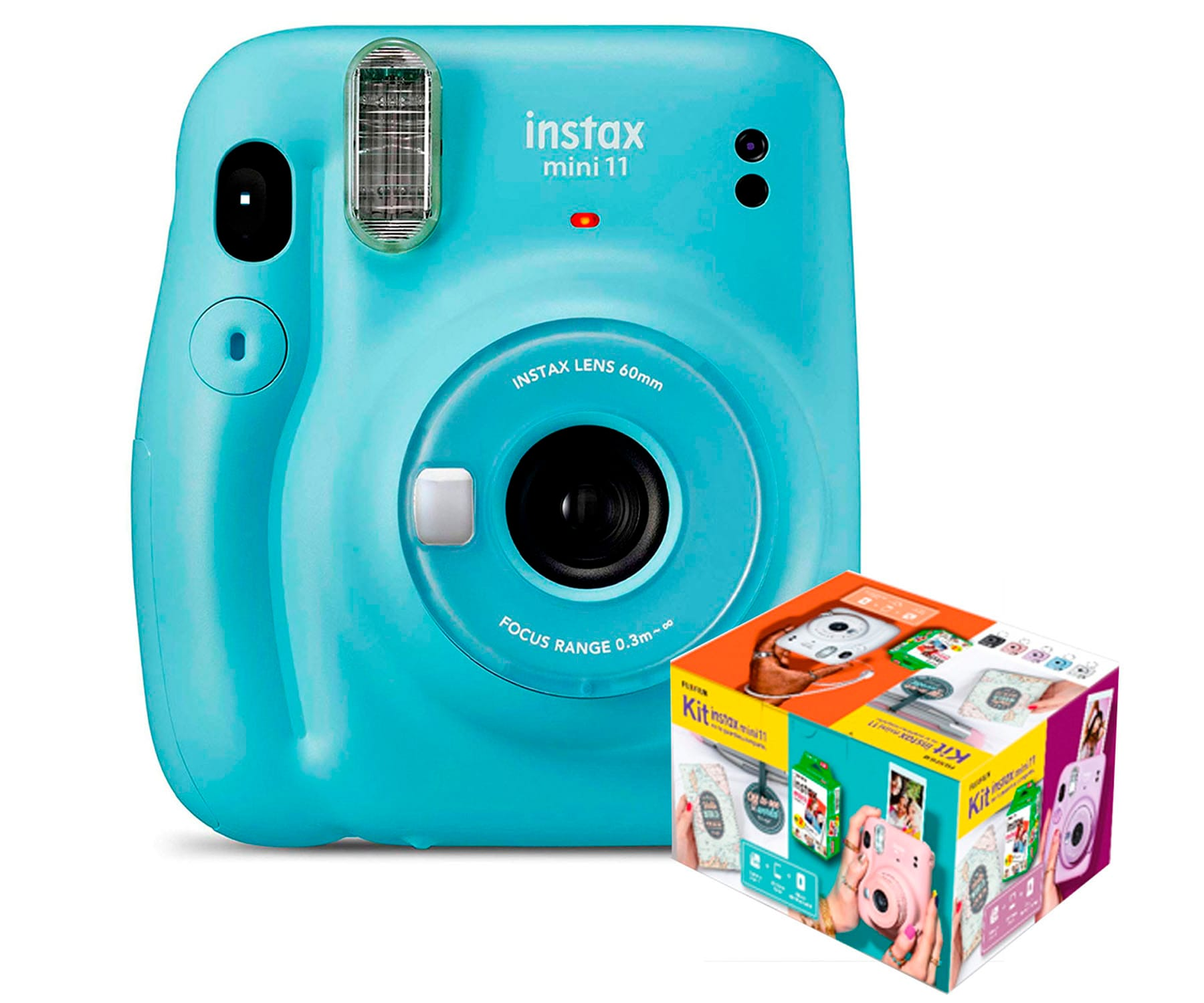 FUJIFILM INSTAX MINI 11 AZUL CIELO CÁMARA INSTANTÁNEA KIT MR. WONDERFUL