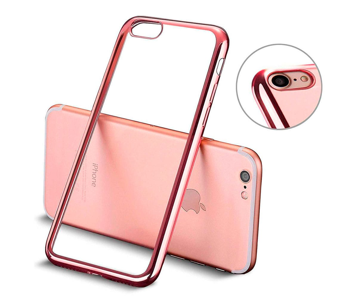 AKASHI BORDES ROSA CARCASA TRANSPARENTE IPHONE 7 PLUS