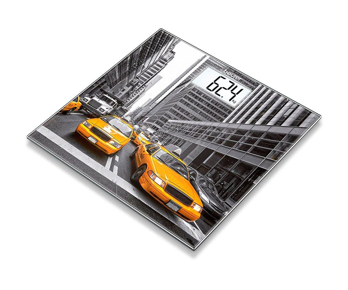 BEURER GS 203 NEW YORK BÁSCULA DE VIDRIO CON PANTALLA LCD DE NÚMEROS GRANDES PARA FÁCIL LECTURA -
