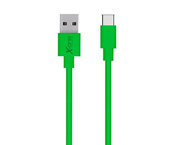X-ONE CPC1000 VERDE CABLE CONECTOR PLANO CON PUERTO USB TIPO C A USB 2.0 TIPO A - CPC1000 VERDE