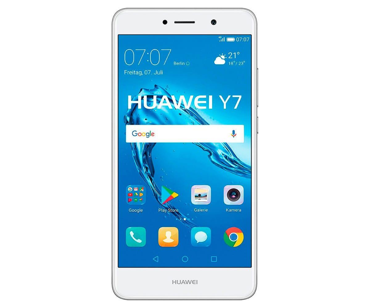 HUAWEI Y7 PLATA MÓVIL 4G DUAL SIM 5.5 IPS HD/8CORE/16GB/2GB RAM/12MP/8MP - Teléfono móvil HUAWEI Y7 con acabado color plata, conectividad 4G, Dual SIM, pantalla de 5.5 pulgadas IPS LCD con resolución HD de 1280 x 720 píxeles, sistema operativo Android versión 7.0 Nougat + EMUI versión 5.1, procesador de ocho núcleos Snapdragon 435 a 1.4GHz, controlador gráfico Adreno 505, 16GB de memoria interna (ampliables hasta 128GB a través de ranura microSD), 2GB de memoria RAM, cámara principal de 12MP con apertura f/2.2, flash LED y grabación de vídeos en resolución Full HD de 1920 x 1080 píxeles, cámara secundaria de selfies de 8MP con apertura de f/2.0, batería de 4.000mAh, conectividad inalámbrica WiFi 802.11n, Bluetooth 4.1, radio FM, A-GPS, GLONASS y reproductor multimedia.