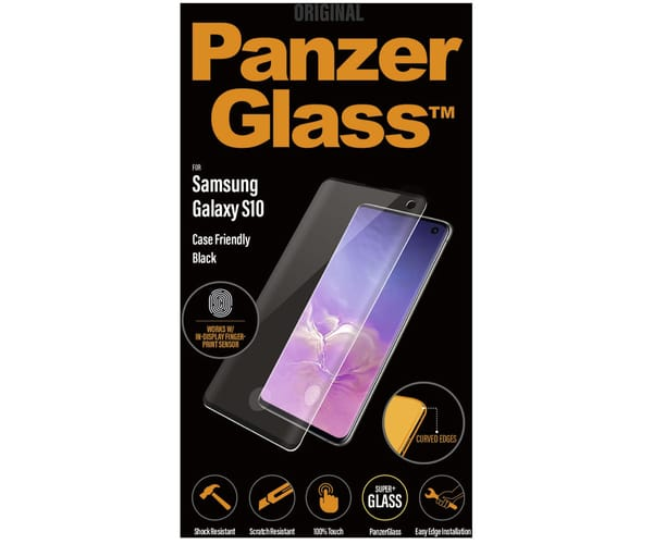 PANZERGLASS PROTECTOR DE CRISTAL SAMSUNG GALAXY S10 FINGERPRINT CASE FRIENDLY NEGRO