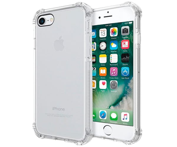 AKASHI FUNDA TRASERA SILICONA TRANSPARENTE APPLE IPHONE 7 / 8 BORDES REFORZADOS