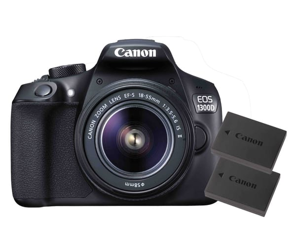 CANON EOS 1300D POWER KIT CÁMARA RÉFLEX CON OBJETIVO EF-S 18-55mm IS II Y 2 BATERÍAS