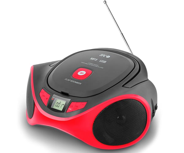SPC CLAP BOOMBOX ROJO 4501R RADIO CD MP3 3W PORTABLE CON USB