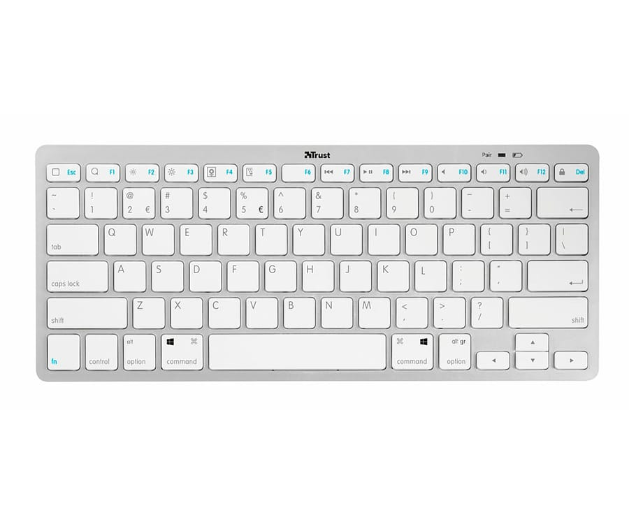 TRUST NADO BLANCO TECLADO INALÁMBRICO BLUETOOTH LIGERO Y ULTRAFINO COMPATIBLE ANDROID WINDOWS MAC E IOS