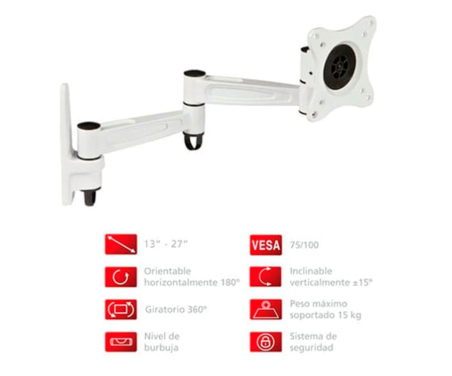 FONESTAR STV-649B SOPORTE ORIENTABLE DE PARED PARA TV DE 13'' A 27'' COMPATIBLE VESA 100