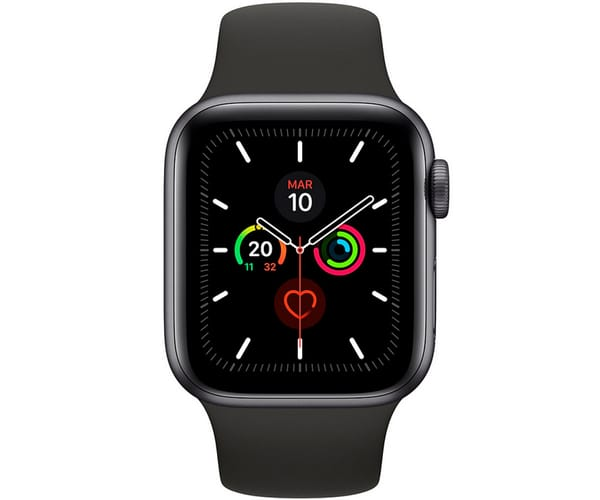 APPLE WATCH SERIES 5 GRIS ESPACIAL CON CORREA DEPORTIVA NEGRA RELOJ 44MM SMARTWATCH 32GB WIFI BLUETOOTH GPS Y CELL