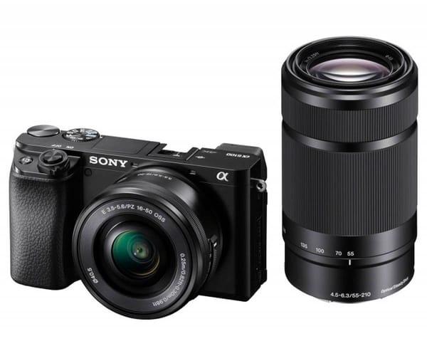 SONY ILCE-6100YB CÁMARA CON MONTURA TIPO E Y SENSOR APS-C CUERPO + LENTE DE 16-50mm + LENTE 55-210mm