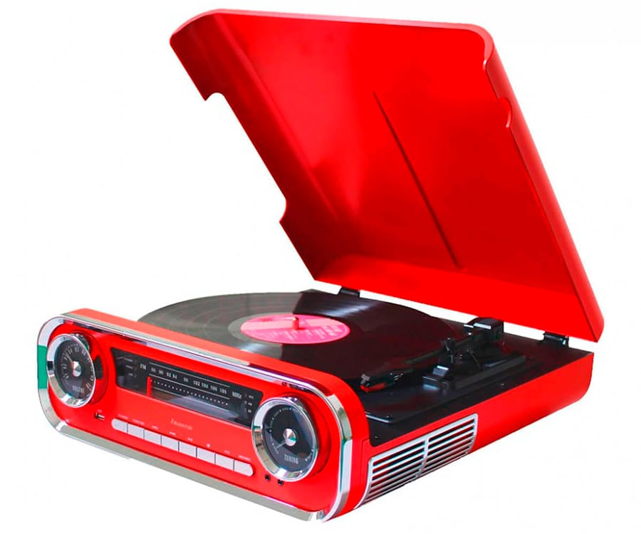 LAUSON 01TT17 ROJO TOCADISCOS VINTAGE 3 VELOCIDADES BLUETOOTH USB GRABACIÓN MP3 FM
