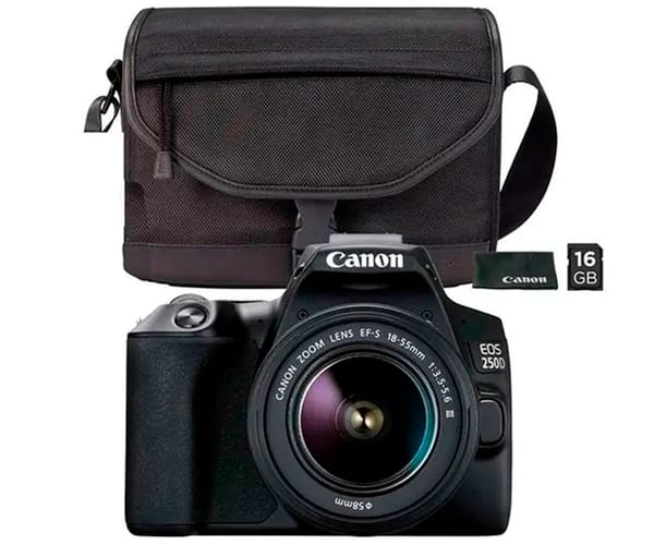 CANON KIT EOS 250D NEGRO CÁMARA REFLEX 24.1MP 4K WIFI BLUETOOTH + OBJETIVO EF-S 18-55mm + BOLSA + SD 16GB