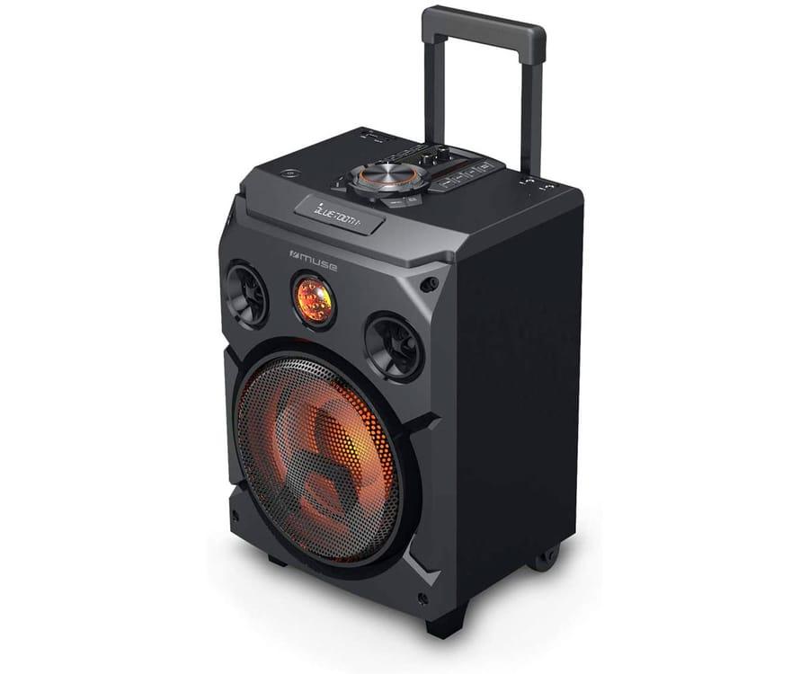 MUSE M-1915 DJ NEGRO ALTAVOZ PARA FIESTAS 150W TROLLEY BATERÍA BLUETOOTH RADIO FM USB AUX 2x MICROS