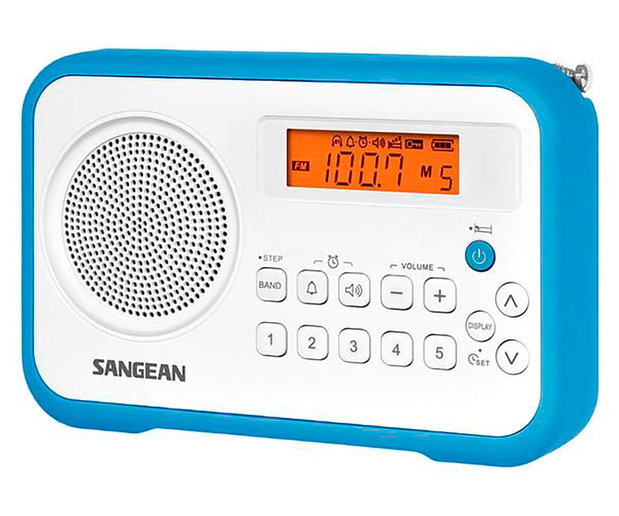 SANGEAN PRD18 B-A AZUL BLANCO RADIO DIGITAL PORTÁTIL FM AM PANTALLA LCD ALARMA BATERÍA