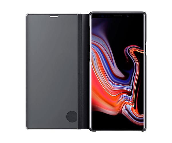 SAMSUNG CLEAR VIEW STANDING NEGRO GALAXY NOTE 9 FUNDA CON TAPA